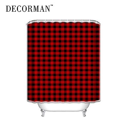 Prime Leader Custom Shower Curtains Rustic Red Black Buffalo Check Plaid Pattern CurtainTartan