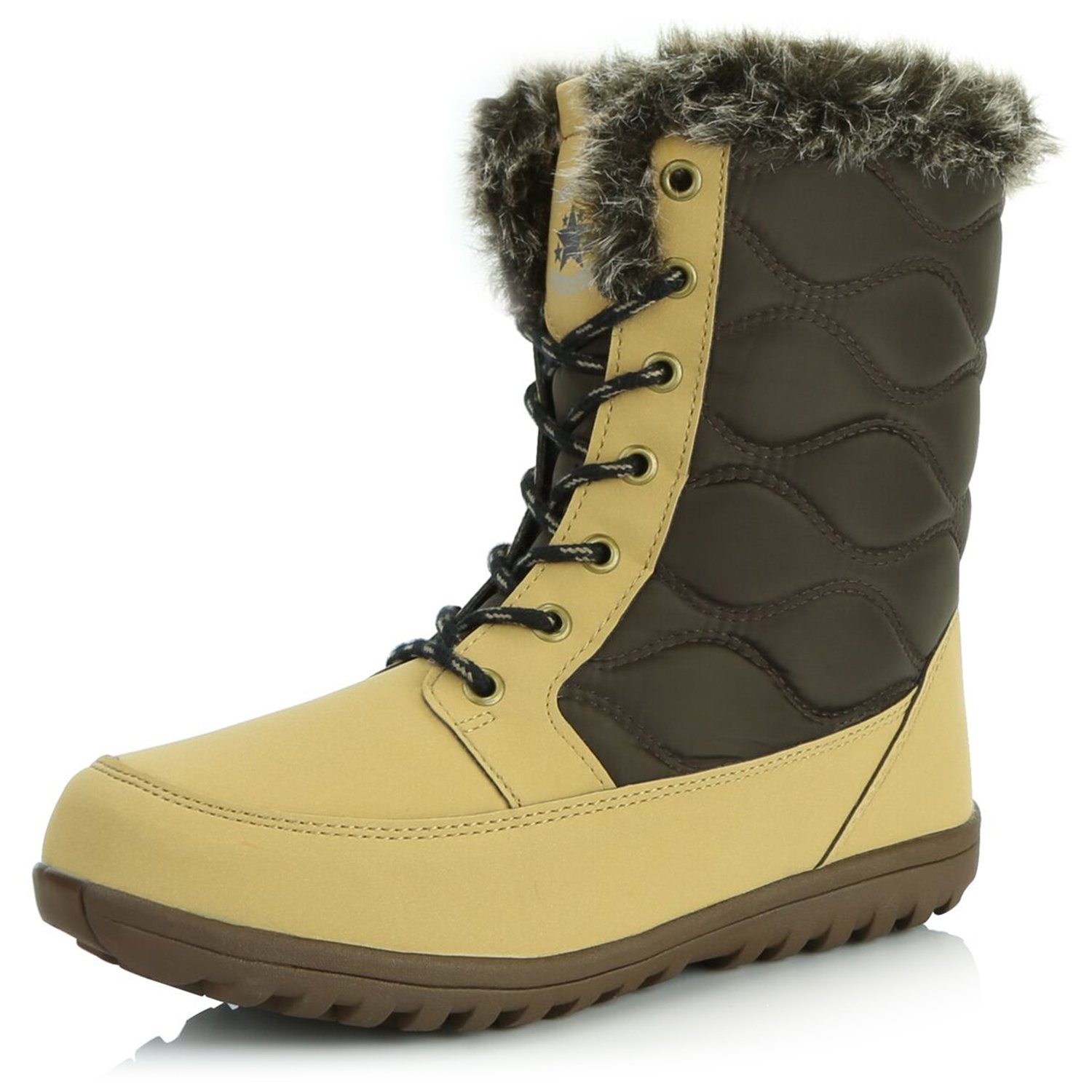 DailyShoes Warm Ankle Winter Boots for Women Snow Bootie Short Quilt Lace Up Hiking Shoes Running Backpacking Walking Water Resistant Mid Calf Sexy with Faux Trim Snow-02 Tan Pu 7 by DailyShoes