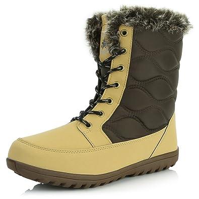 Women's Comfortable Round Toe Flat Ankle High Eskimo Winter Fur Snow Boots Brown Light Tan Black PU 13 2A(N) US