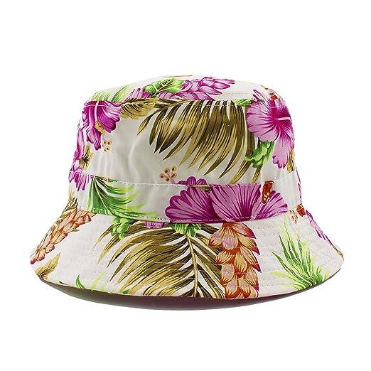 468e19351 Amazon.com: Hawaiian Flower Bucket Hat One Size for Unisex (Pink ...