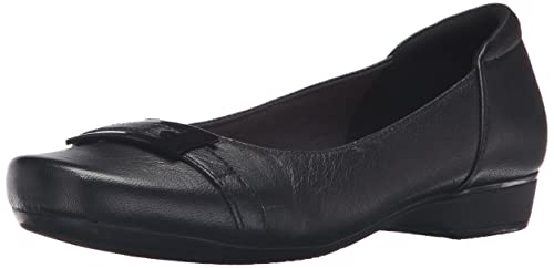 Clarks Women's Blanche West Flat, Black Leather, ...