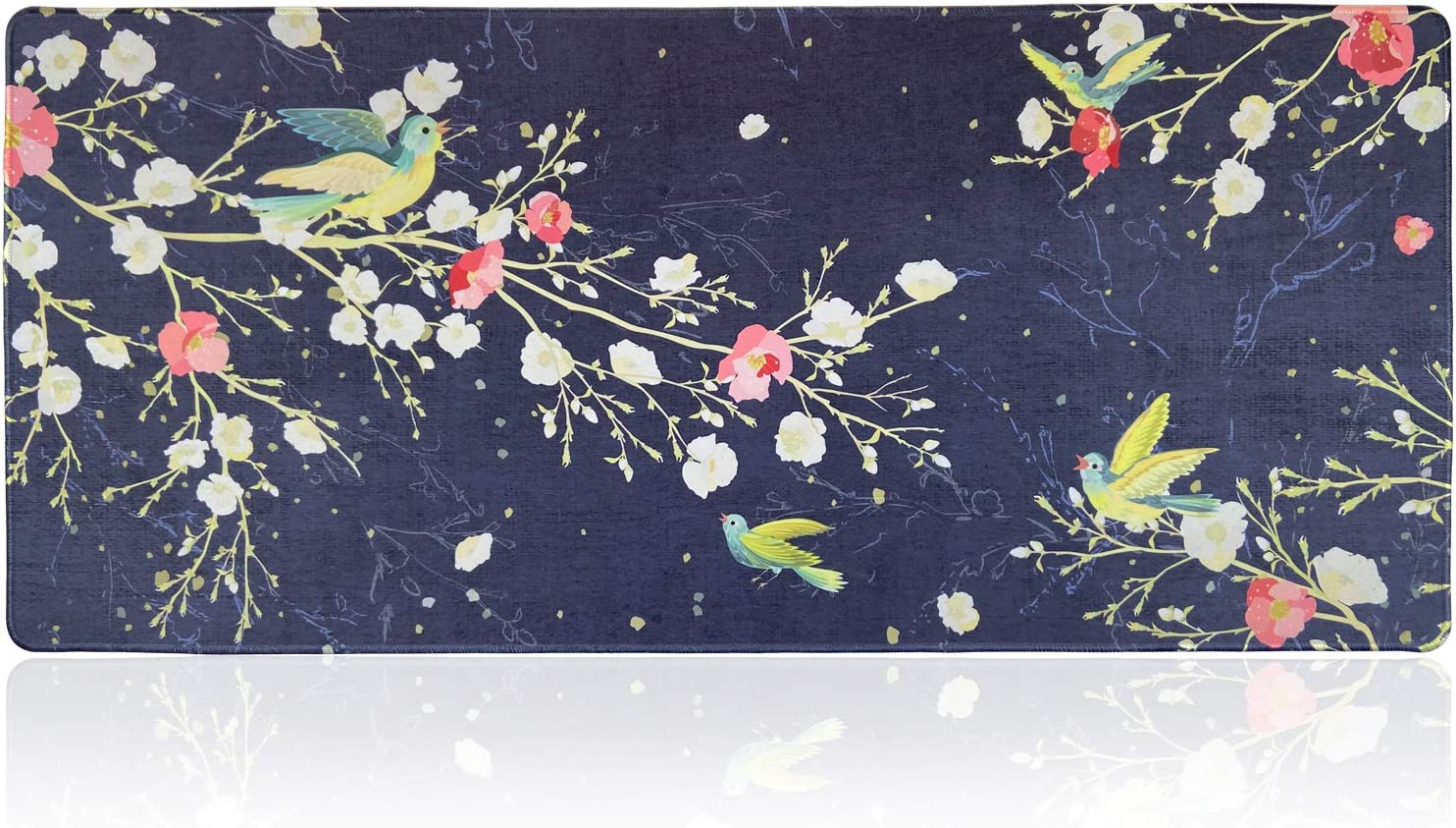 Extended Large Gaming Mouse Pad with Floral Design, XXL Mousepad-35.4''x15.7''x0.12''(0.3cm Thick), Office Desk Pad Keyboard Mat with Stitched Edges, Non-Slip Base, Water-Resistant,Flower & Birds