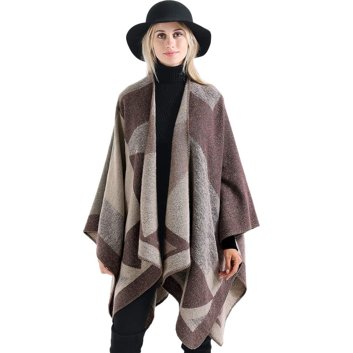 Vbiger Damen Poncho Schal Wrap Farbblock Open Front Cape Übergroße Winterdecke Reversible Schal Dicke Cardigan Coat, Khaki
