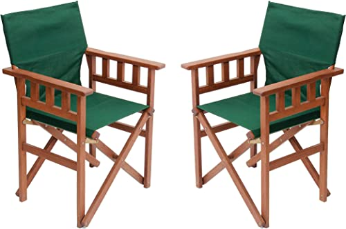 BYER OF MAINE, Pangean Campaign Chair, 20 D x 23.5 W x 36 H, Holds Up to 250 lbs, Hardwood, Perfect for Patio Deck, Wood Folding Chairs, Patio Chair, Deck Chair, Wood Camp Chair, Green, Two Pack
