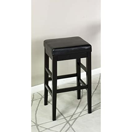 Armen Living Lcstbablbl26 Sonata 26 Counter Height Barstool In Black Bonded Leather And Black Wood Finish