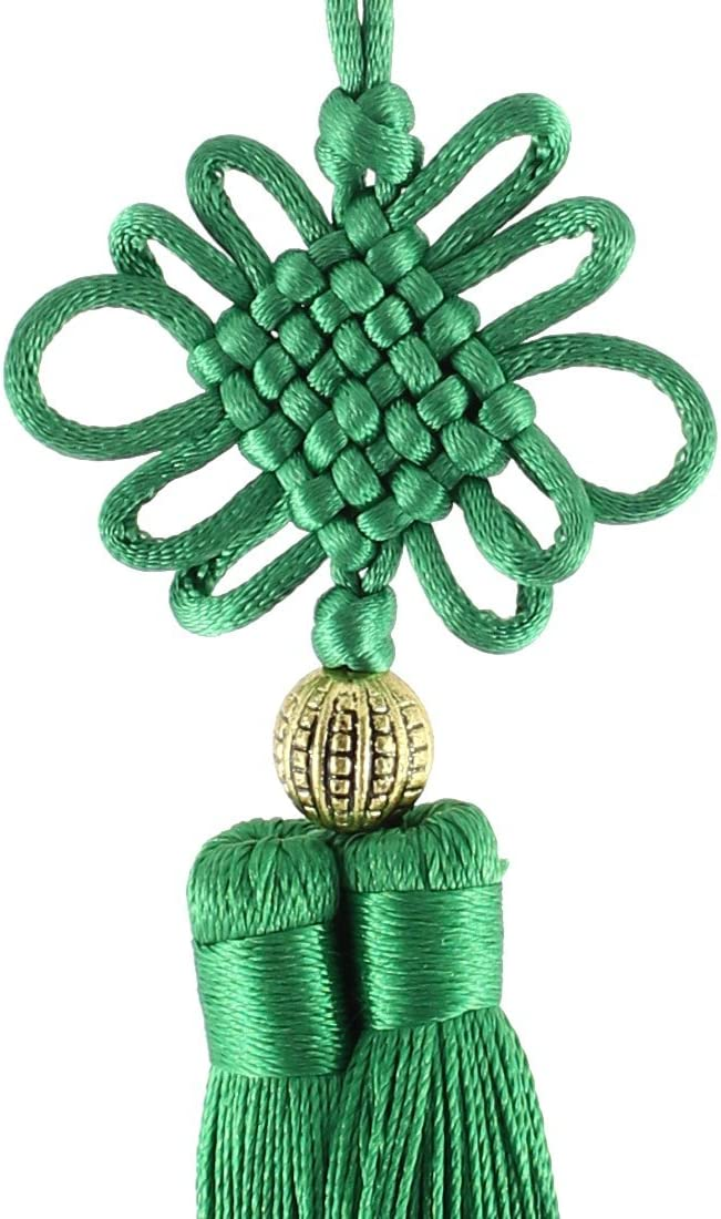 DealMux Handmade Double Tassel Hanging Chinese Knot Decoration Green