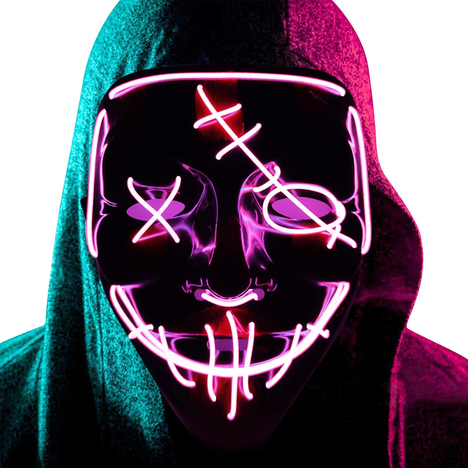 Halloween LED Mask Light Up Mask Glow in The Dark Cosplay EL Wire Halloween Festival Party Supplies