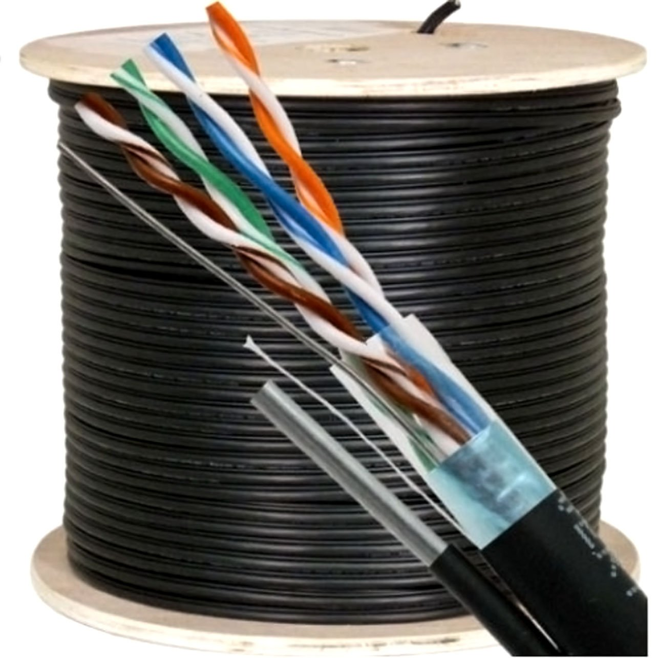 Vertical Cable Cat5e, 350 Mhz, Shielded, UV Jacket, Outdoor, CMX, Messenger, 1000ft, Black, Bulk Ethernet Cable, Wooden Spool by VC VERTICAL CABLE
