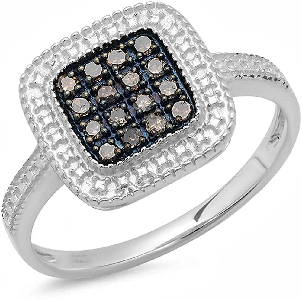 White Diamond Cluster Ring Silver Platinum Plated Champagne Diamond Sapphire