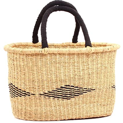West Africa Exclusively for: Fair Trade Gifts and Home Decor 22197 Made in Bolga Ghana Fair Trade Ghana Bolga African Dye-Free Fully Shaped Medium Market Basket 11-13 Across