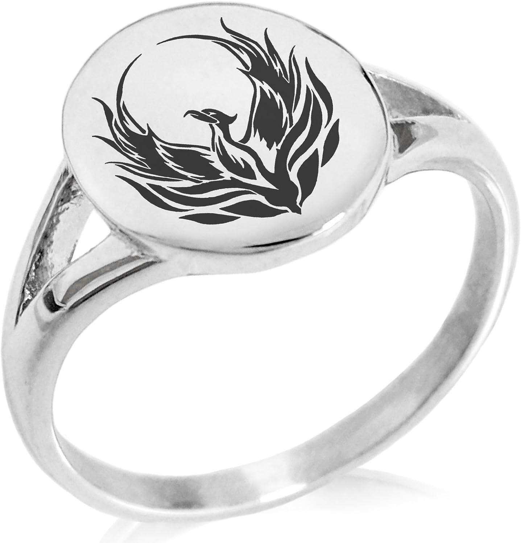 Tioneer Stainless Steel Greek Mythology Phoenix Symbol Minimalist Oval Top Polished Statement Ring
