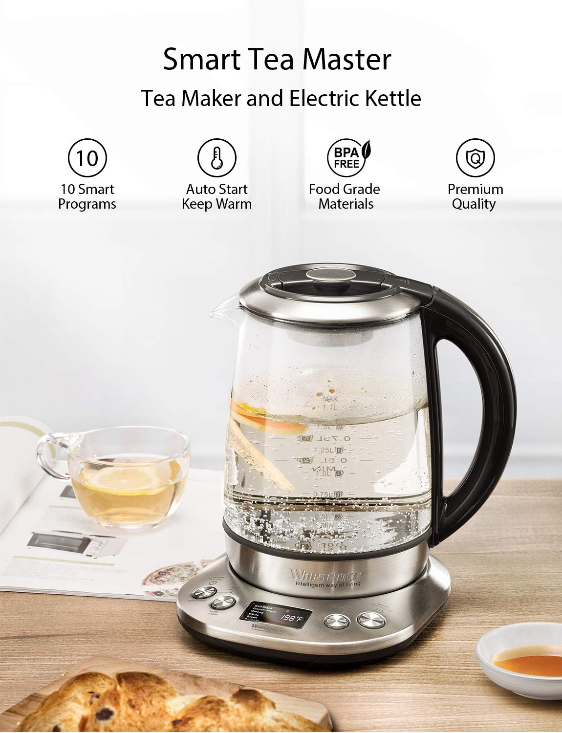 Willsence Electric Kettle, Electric Tea Kettle Stainless Steel Glass Boiler Hot Water Tea Heater with Temperature Control LCD Display, Removable Tea Infuser, 1.7 L, 1200W by Willsence (Image #2)