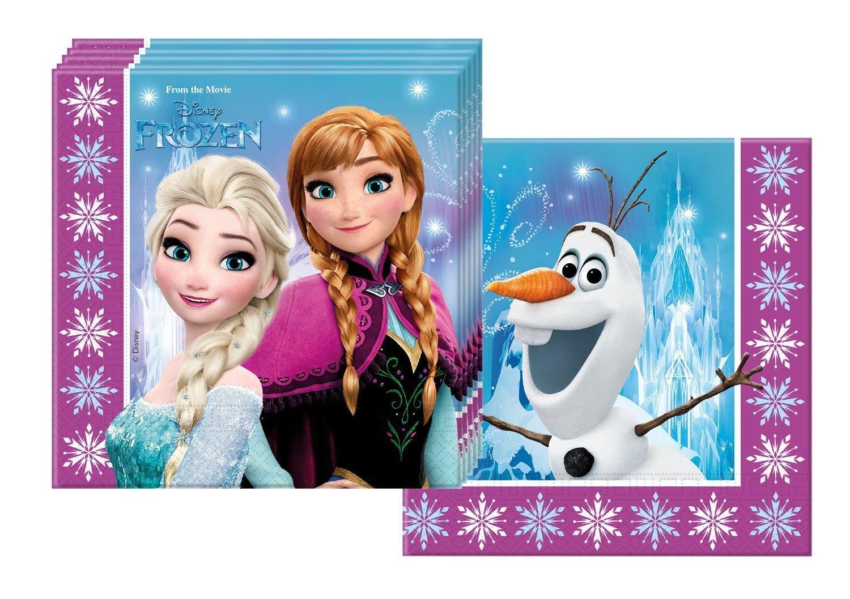 Zeus Party Kit Coordinato per Feste E Compleanno Disney Frozen Northern Lights Piatti-Bicchieri-tovaglioli-Tovaglia-Bolle di Sapone per 16 Persone