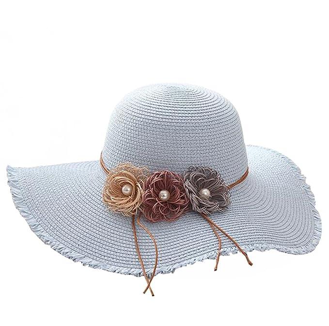 d86b8b4eb47672 ISADENSER Women Girls Wide Brimmed Sun Visor Summer Beach Straw Headwear Hat  Cap + One Piece