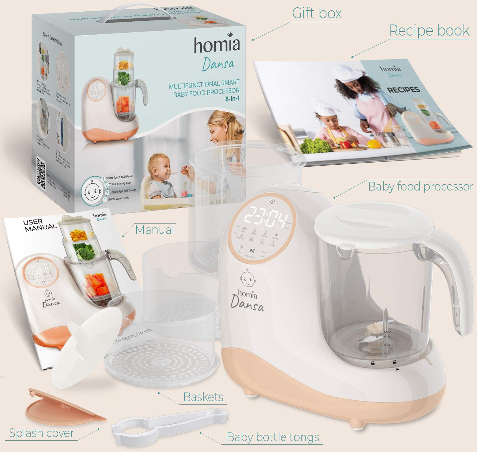 Baby Food Maker Chopper Grinder - Mills and Steamer 8 in 1 Processor for Toddlers - Steam, Blend, Chop, Disinfect, Clean, 20 Oz Tritan Stirring Cup, Touch Control Panel, Auto Shut-Off, 110V Only by homia (Image #8)