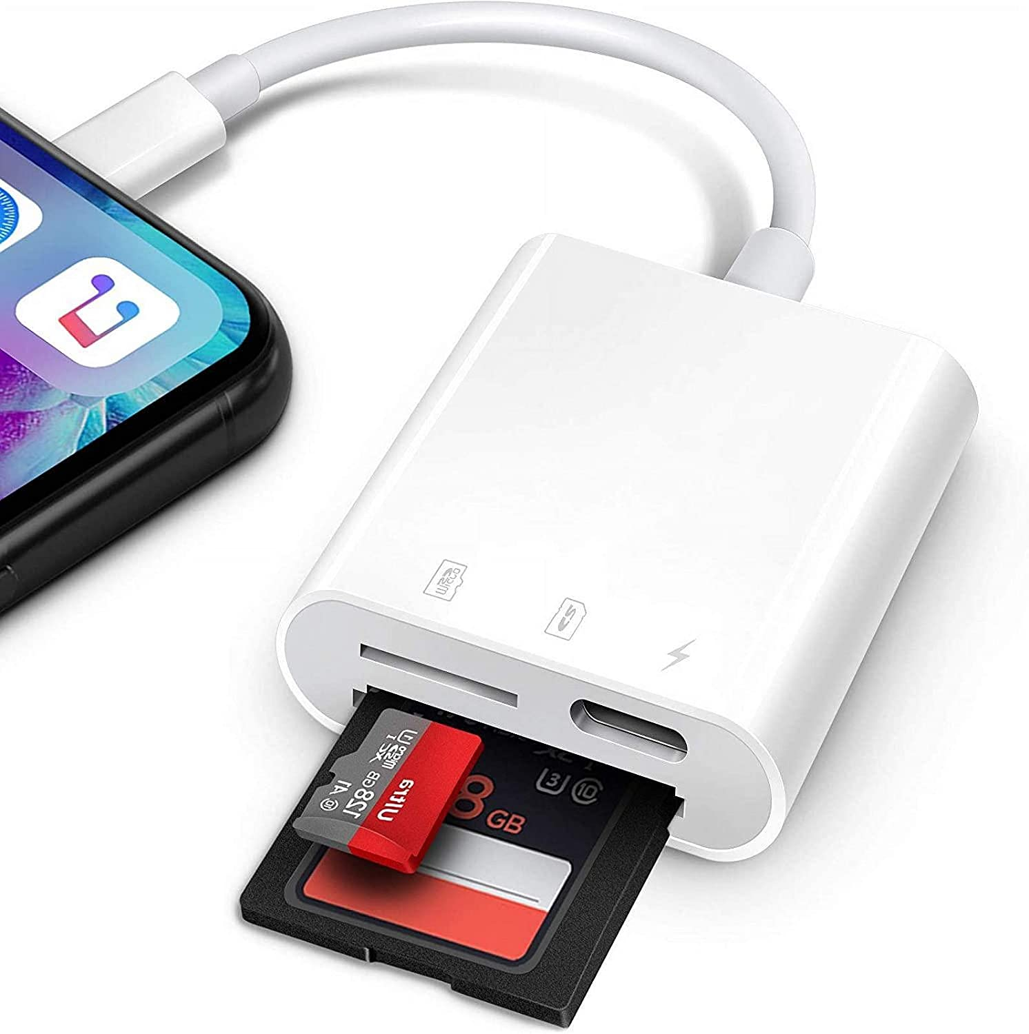Lightning to SD Card Reader for iPhone iPad, Apple MFi Certified Veetone Dual Slots with Charging Port SD/Micro SD Card Reader Adapter Cable for SLR Cameras, Trail Game Camera Viewer, Plug and Play