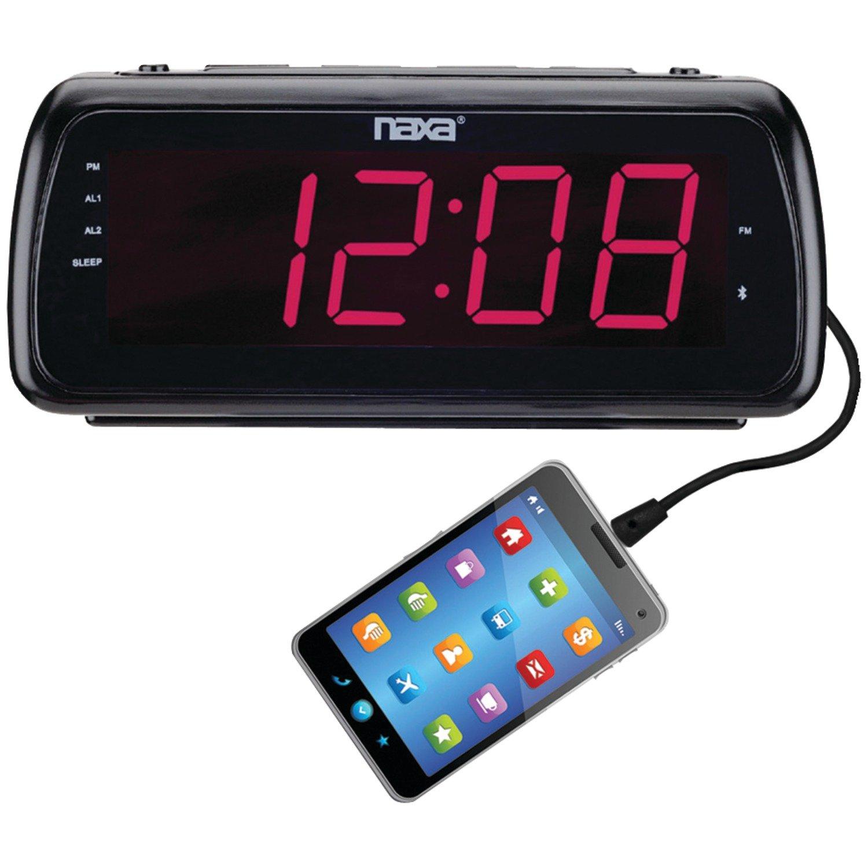 NAXA Electronics NRC-180 Easy-Read Dual Alarm Clock Radio with USB Charge Port, Shiny Black by Naxa Electronics