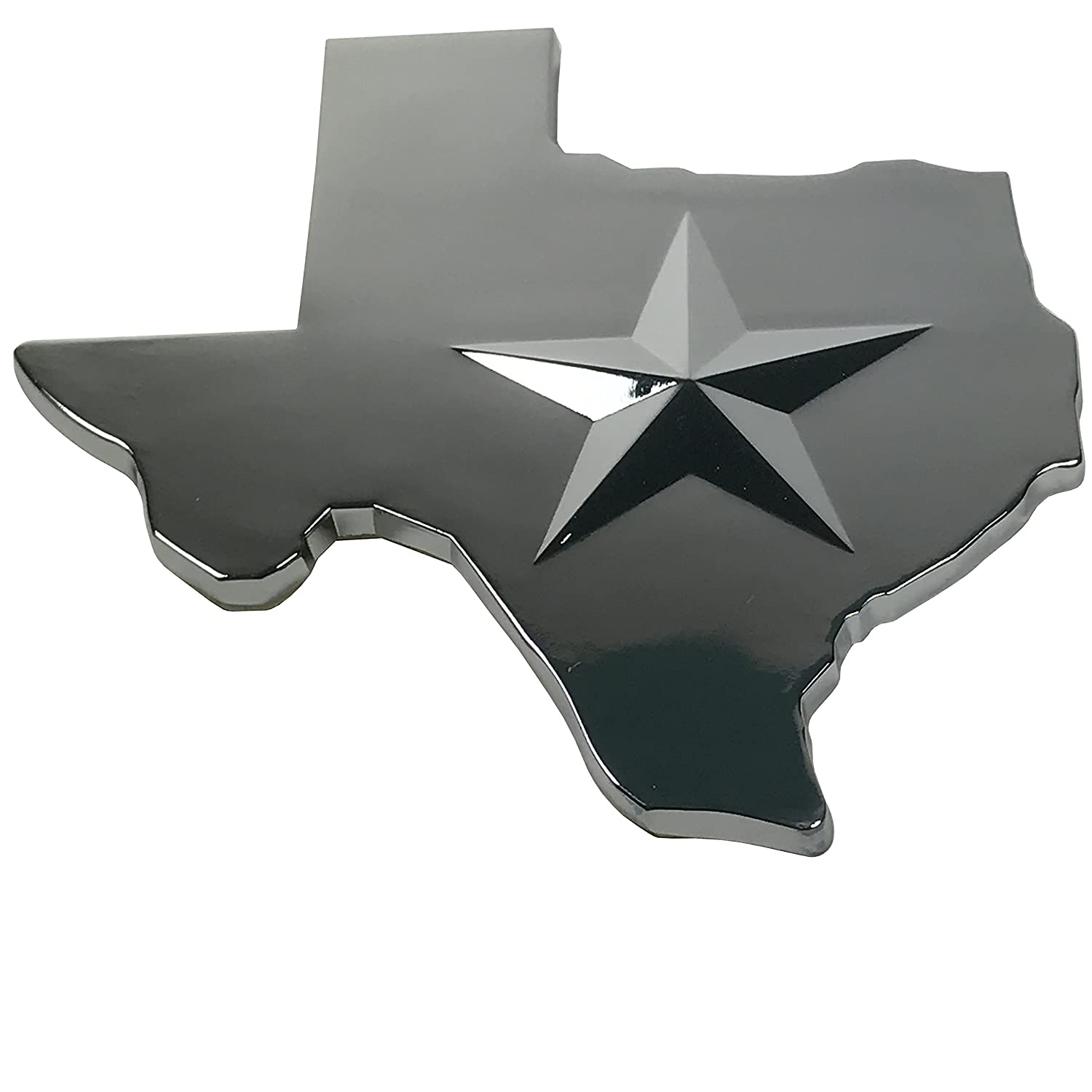w// Silver Star in 3D Poker Weights Premium Texas Lone Star State METAL Auto Emblem