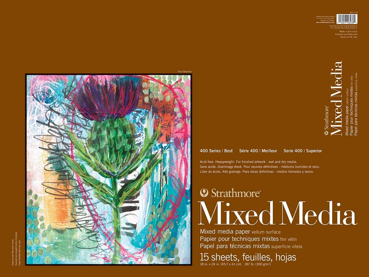 Strathmore 400 Series Mixed Media Pad, 18''x24'', White, 15 Sheets by Strathmore