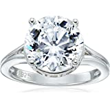 Platinum Plated 925 Sterling Silver 100 Facets Collection Solitaire AAA Cubic Zirconia Ring (4.25 cttw)