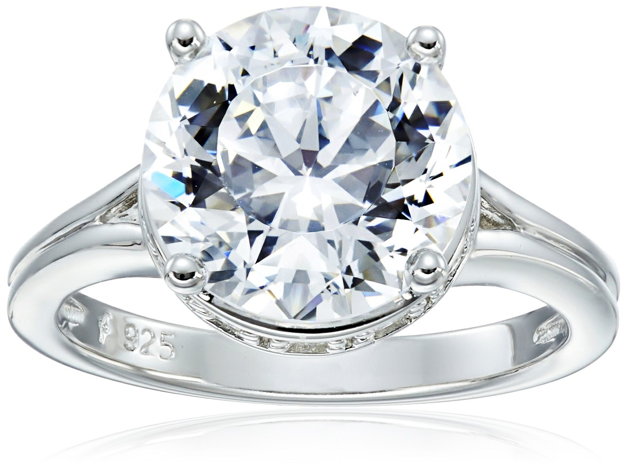 Platinum Plated 925 Sterling Silver''100 Facets Collection'' Solitaire AAA Cubic Zirconia Ring, Size 5 (4 cttw) by Amazon Collection
