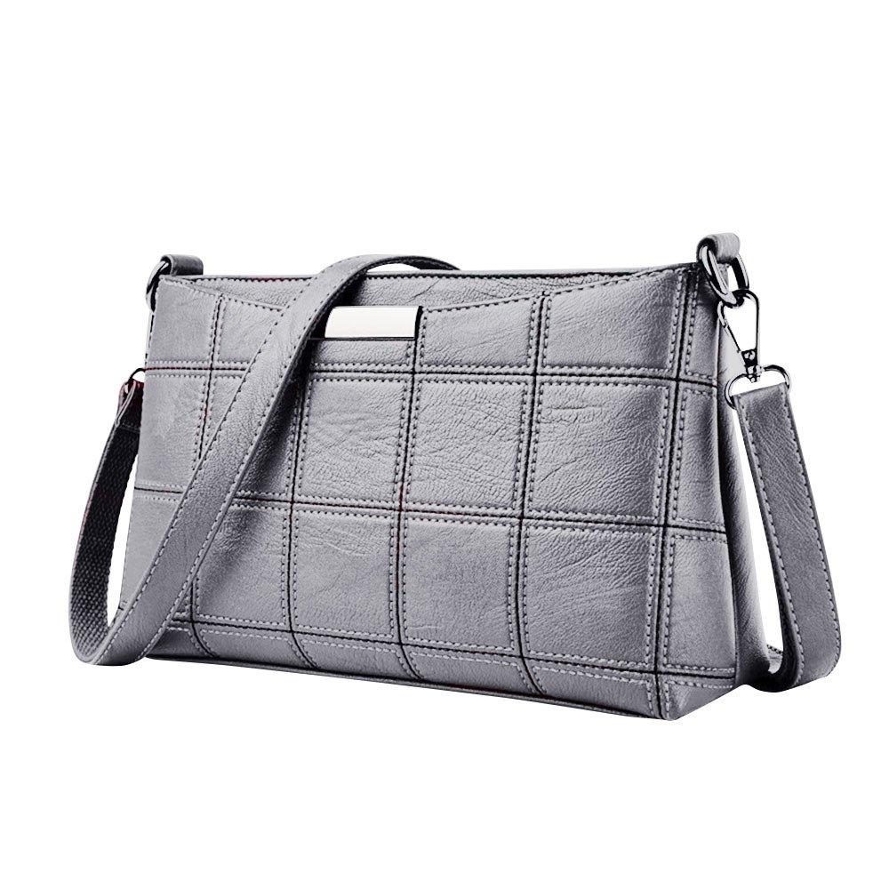 Bag ! Women Handbag Leather Plaid Messenger Bag Shoulder Small Square Package