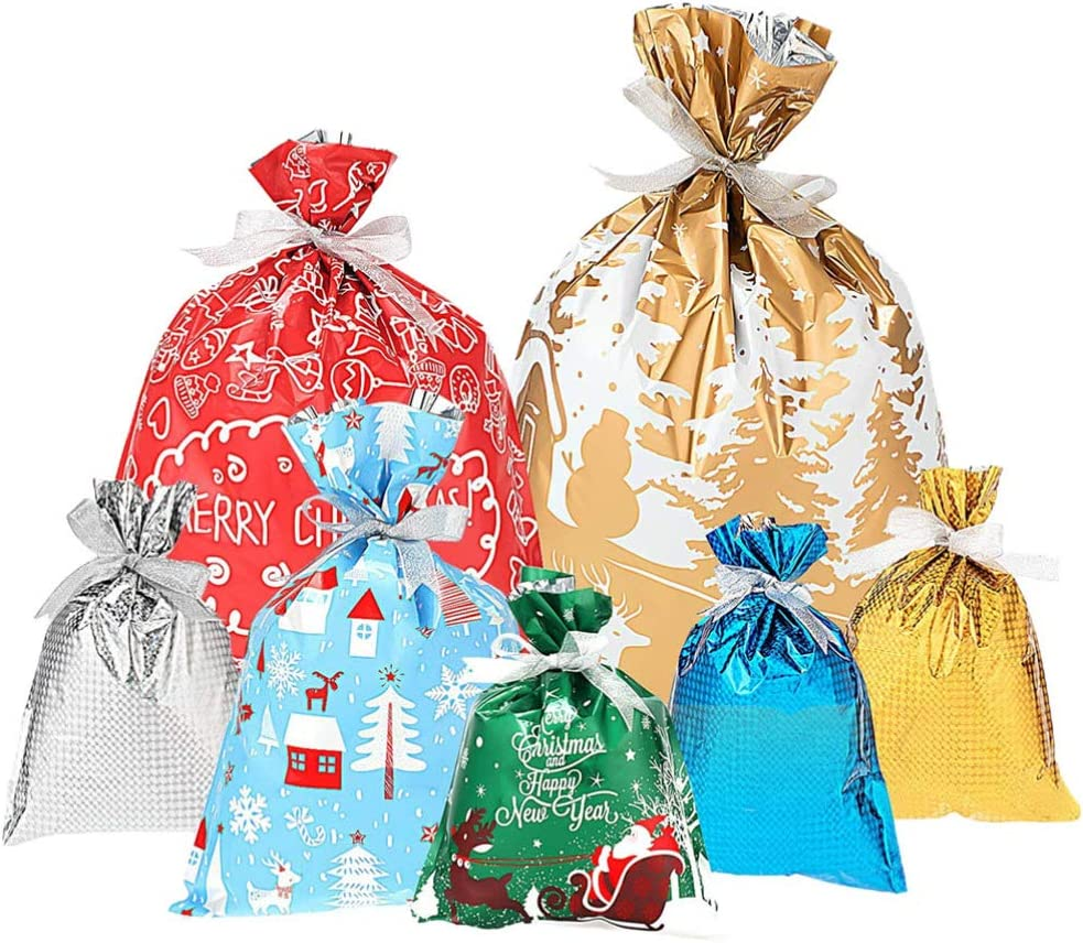 CLISPEED 7PCS Christmas Goody Gift Bags Christmas Party Favor Bags Present Wrapping Bag Holiday Treats Bags with Ribbon Ties