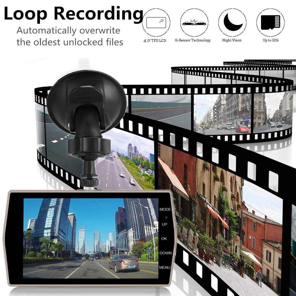 Driving Recorder with 4 Inch LCD Screen Motion Detection 170 Degree Wide Angle black 1080P Full HD Car DVR Dashboard Camera Dash Cam G-Sensor MILEXING 1080P Fron Loop RecordingDash Cam WDR