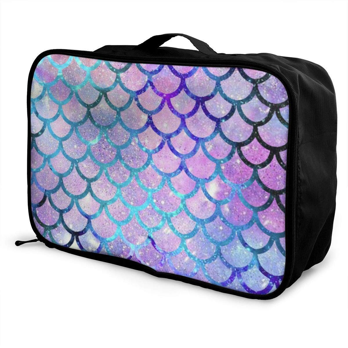 Portable Luggage Duffel Bag Mermaid Scales Fashion Galaxy Pattern Travel Bags Carry-on in Trolley Handle JTRVW Luggage Bags for Travel
