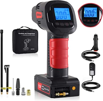 car,etc. Portable air Compressor tire Pump with LED Indicator and Rechargable Battery Bike tire inflator air Bed Apply to Bike Wireless Compact inflator BOHINA Portable air Compressor Pump