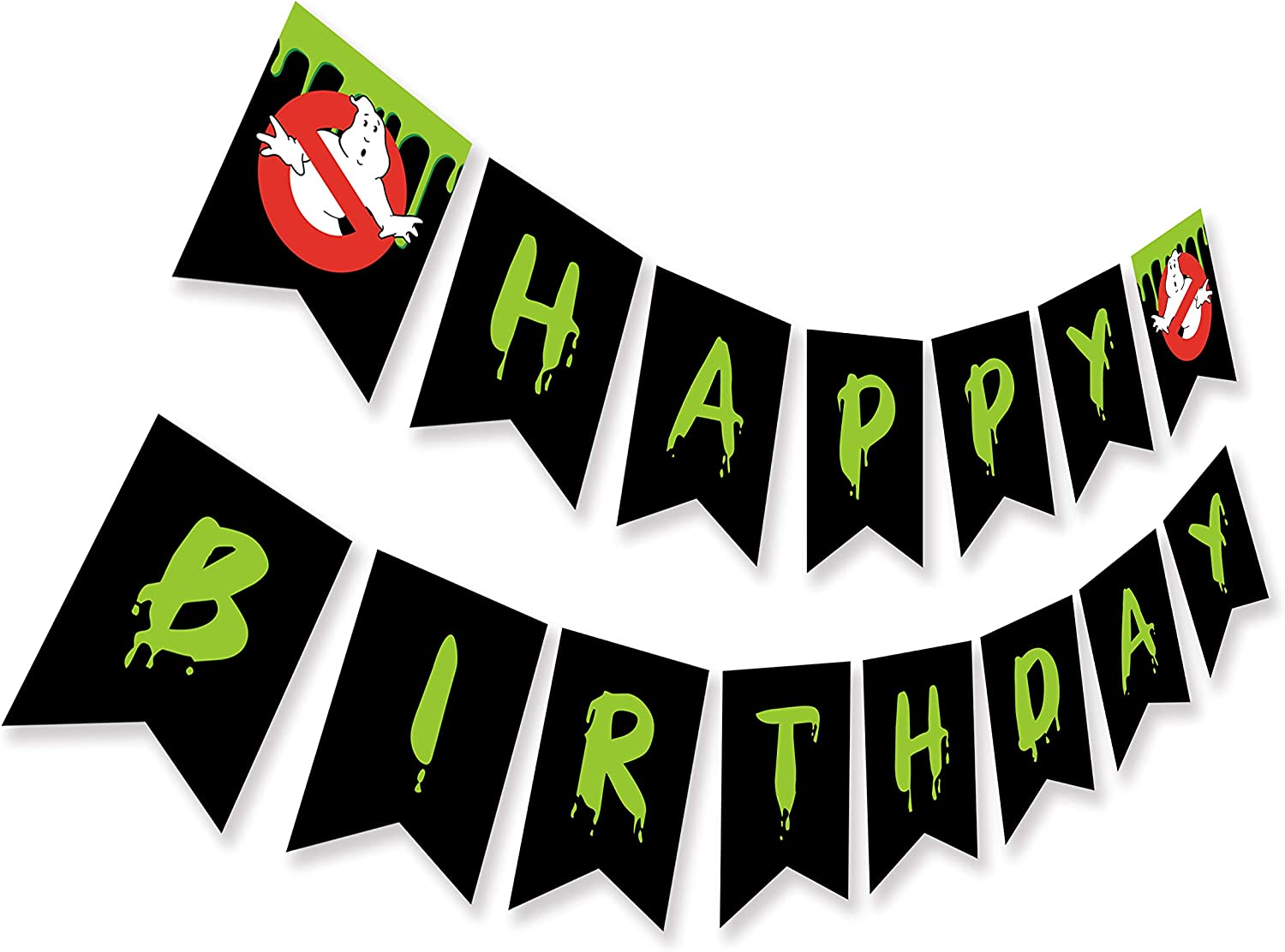Ghost Busters Inspired Happy Birthday Banner, HorrorTheme Bday Party Sign, Ghostbusters Halloween Bunting Decoration