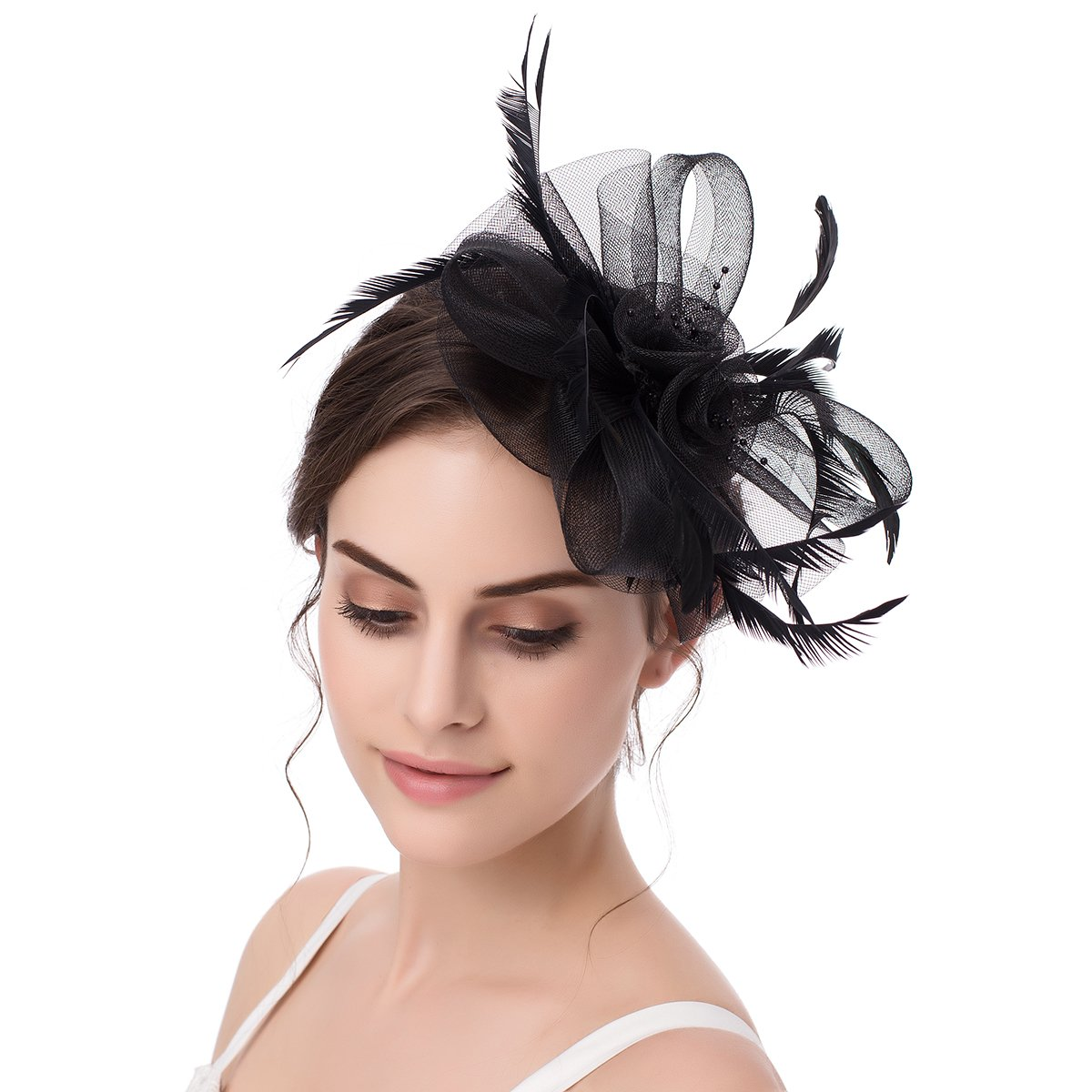 ABaowedding Hat Fascinator Hair Clip Pillbox Hat Feather Flower Cocktail Wedding Party Headband TS005