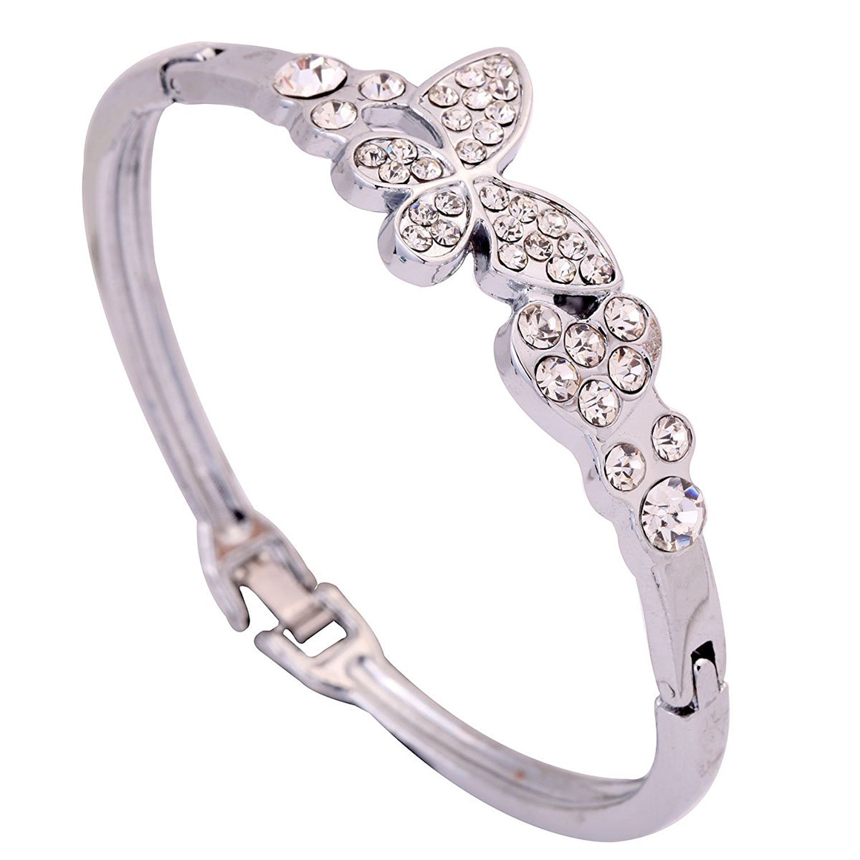DVANIS Silver Plated Alloy Slender Butterfly Carve Sparkling Crystal Bracelet Bangle