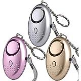 Personal Alarm 140db Safety Alarm Keychain Security Self Defense Panic Rape Alarm with LED Flashlight Pocket Self Defense Emergency Safety Alarm for Women Kids Elderly Adventurer, Set of 3