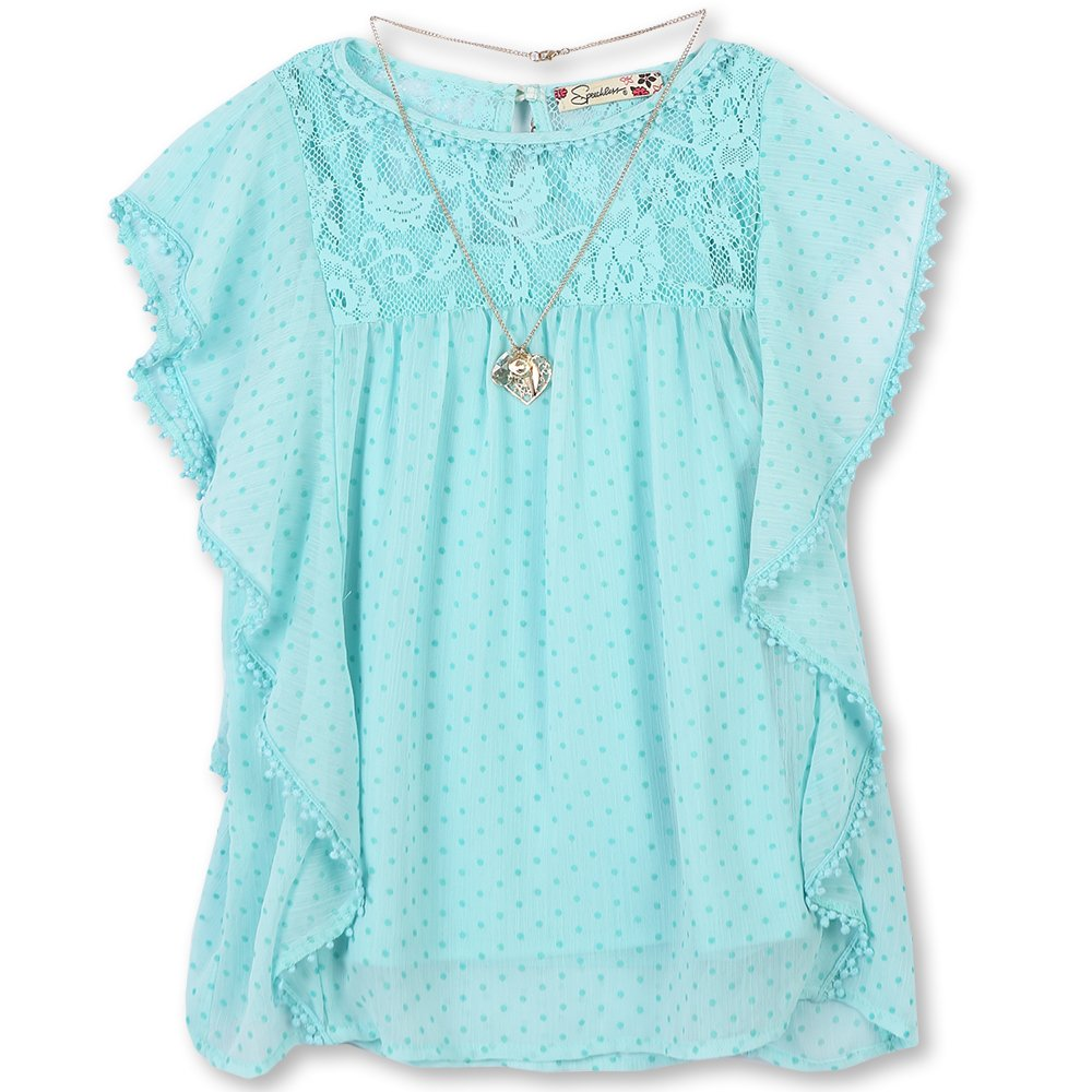 Speechless Girls' Big Dobby Batwing Circle Top Aqua Q2582D01CE68