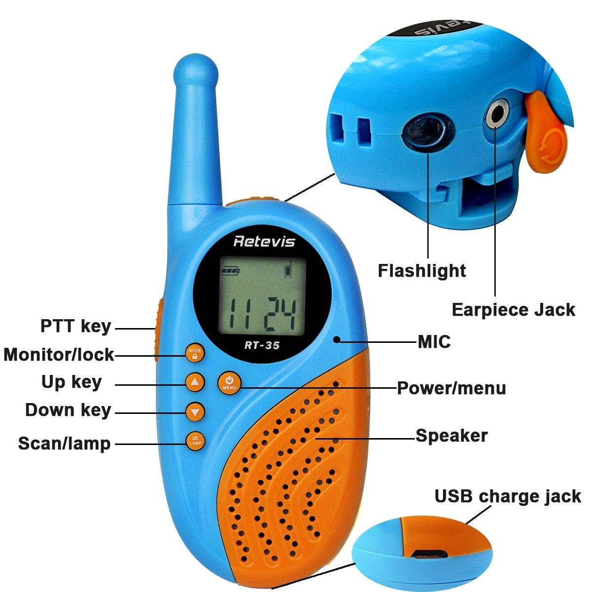 Retevis RT35 Kids Walkie Talkies USB License-Free Digital Alarm Clock 2 Way Radio(Blue, 4 Pack) by Retevis (Image #2)