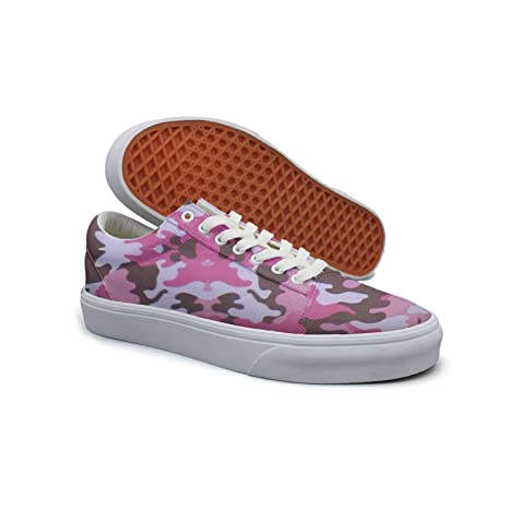 Ouxioaz Womens Skateboarding Shoes Canvas Pink Camouflage Sport Sneaker