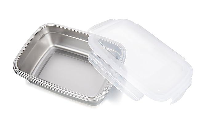 GA Homefavor Fiambreras Caja de Almuerzo de Acero Inoxidable para Alimentos Ensalada de Frutas Recipiente (Blanco, Conjunto de 2): Amazon.es: Hogar