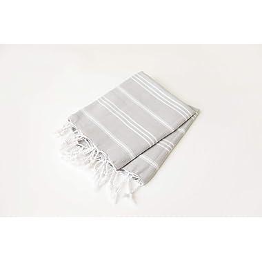 (Set of 2) Palace Hand Towel 100% Turkish Cotton Hand-loomed Bath Beach Towel Peshtemal Scarf (26.5 x 35.5 inches) (60 x 90 cm) (Light Grey)