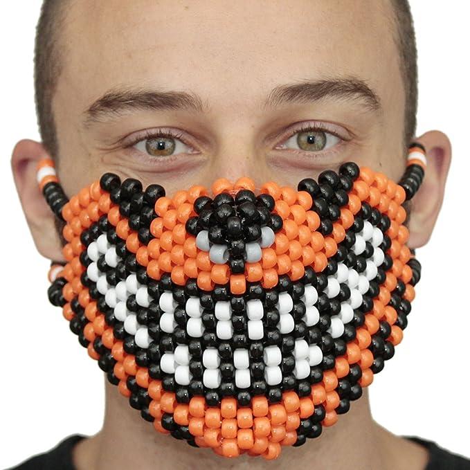 Mascara Kandi de Tigre Anaranjado por Kandi Gear, mascara de rave, mascara de halloween