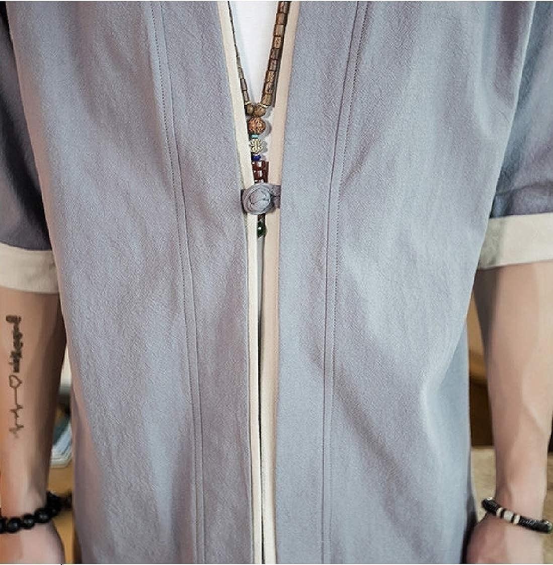 Nanquan Men Kung Fu Plus Size Half Sleeve Loose Fit Linen Frog Button Shirt