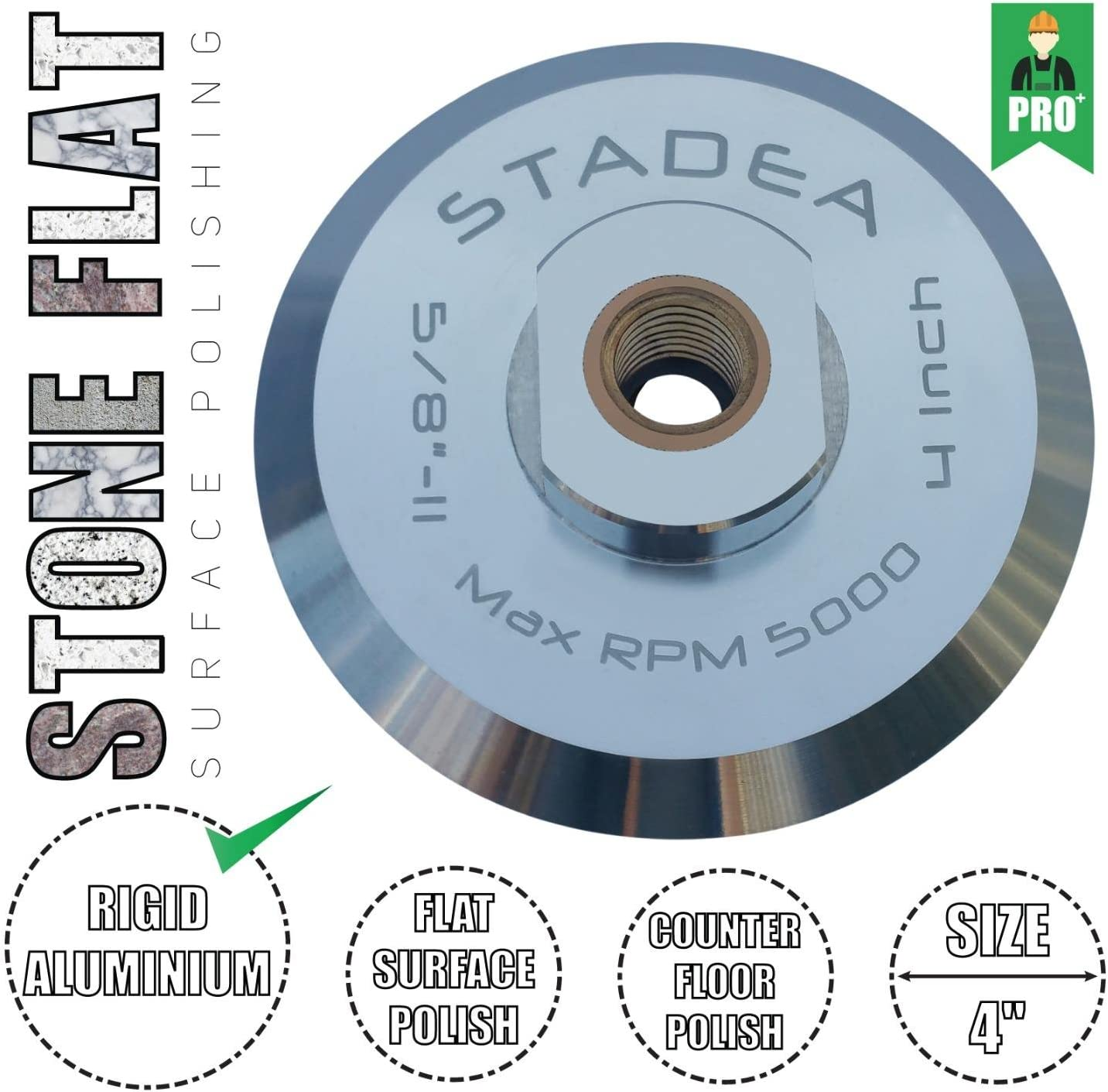Stadea ABP102Q 4 Inch Hook and Loop Backing Pad With Rigid Aluminium Backing 5//8 11 Brass Arbor
