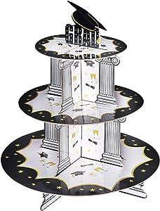 Graduation Cupcake Holder Decoration , Konsait 3 Tiered Grad Party Cupcake Holders Display Rack Stands Tower for Grad Party Decor Graduation Serving Dessert Favors Supplies
