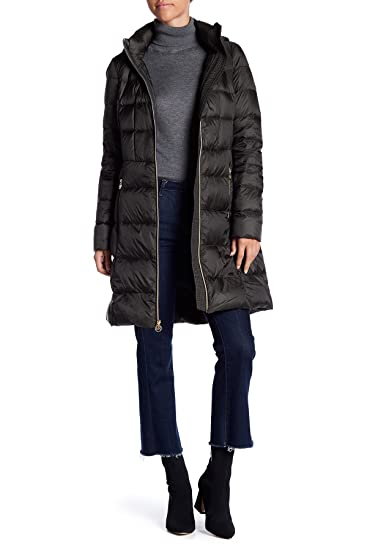 5f3d0db31860 Amazon.com  MICHAEL Michael Kors- Women Quilted Long Hooded Jacket Puffer  Coat~Packable (Dark Olive