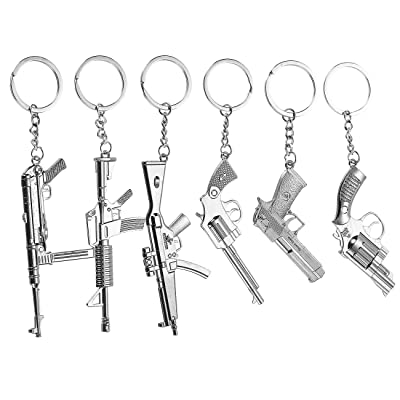 Gun Keychain - 6-Pack Metal Weapon Key Rings Pendant for Men, Birthday Gifts, 6 Designs, Silver: Office Products