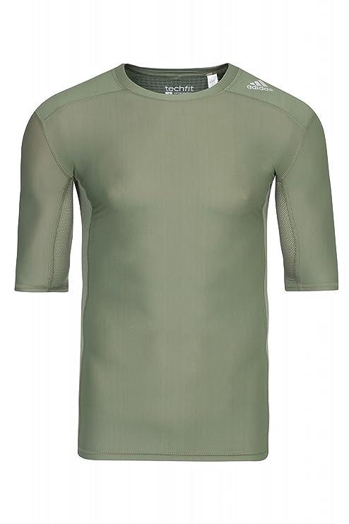 Adidas Performance Techfit Chill Camiseta de compresión de Hombre de Camiseta sporttop Verde s95739, Hombre