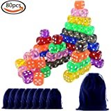 JPSOR 80 Stück sechsseitiger Würfel Spielwürfel, 16mm, 8 Farben, 8 Würfeltaschen und eine große Flanell-Tasche
