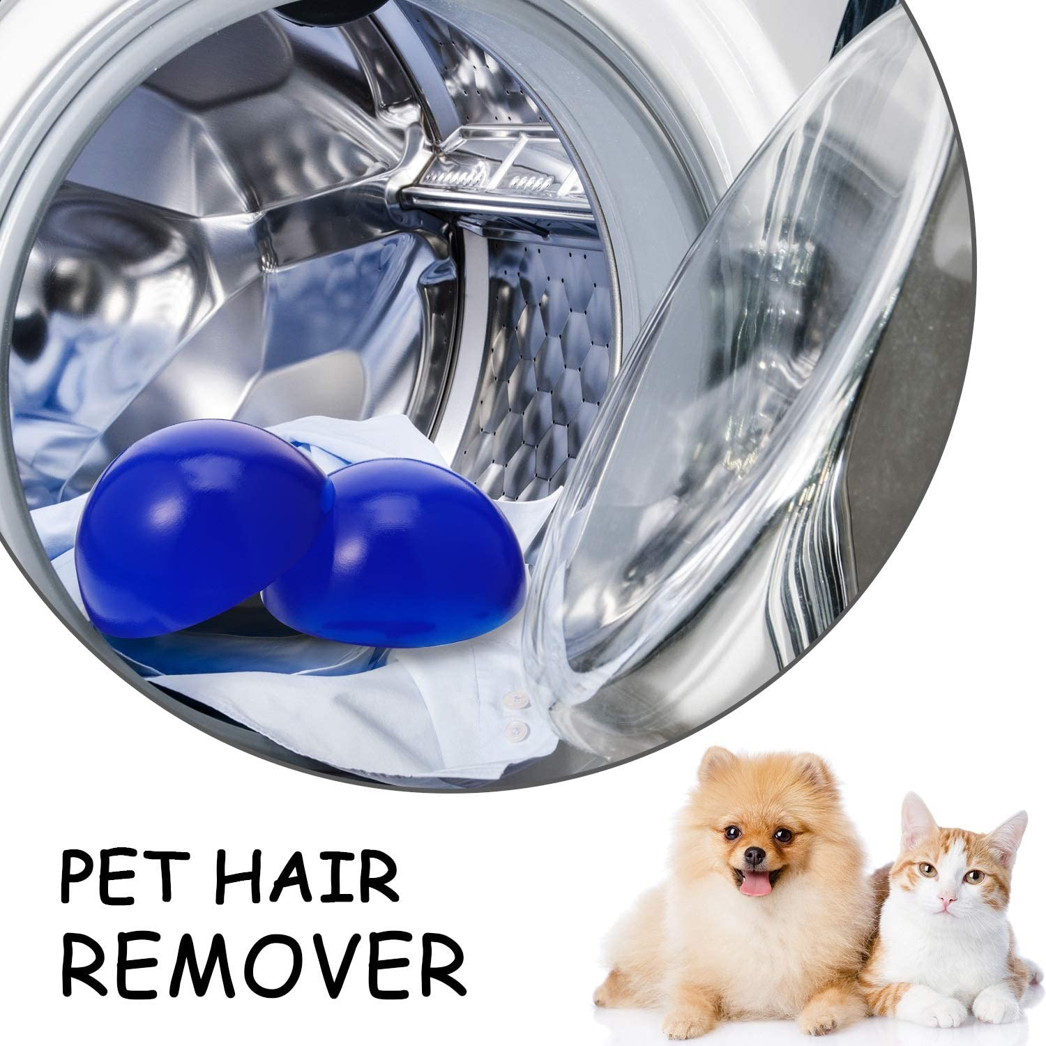 Mudder 2 Packs Pet Hair Remover Dryer Ball Clothes Clean, Dog Hair Cat Fur on Clothes Removal Tool for Laundry Dryer
