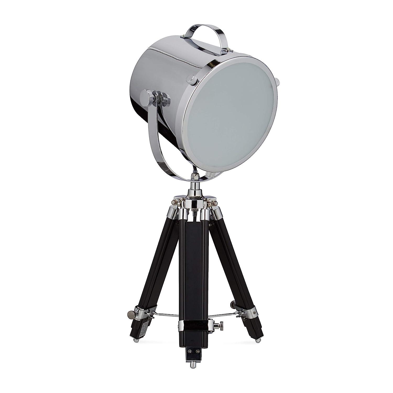 Relaxdays Tischlampe MOVIESTAR Tripod Lampe, Scheinwerfer Design, höhenverstellbar, HBT 74 x 36 x 36 cm, silber-schwarz