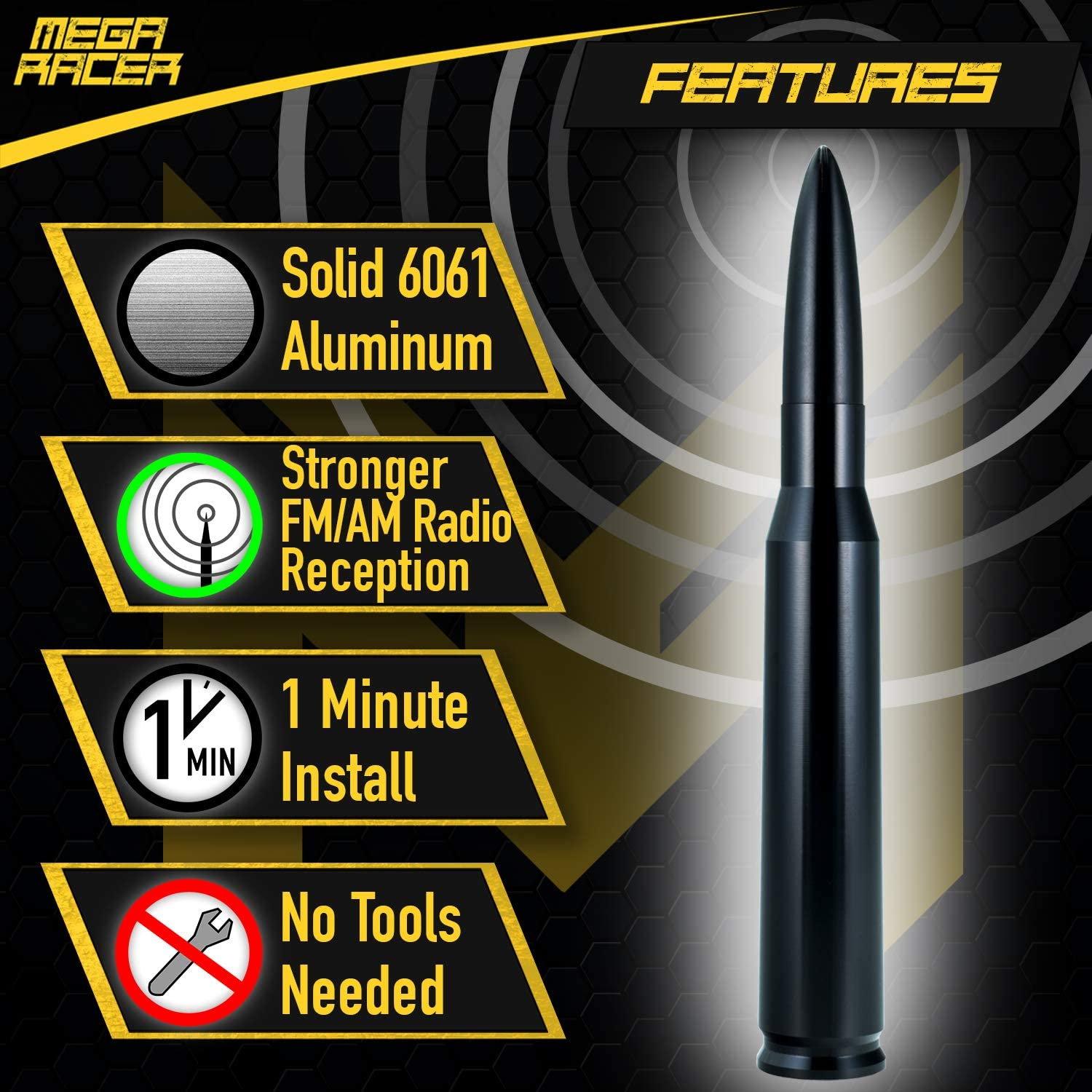 Mega Racer 50 Cal Bullet Antenna for Cars Black 6061 Solid Aluminum Bullet Car Antenna Anti-Theft Design Car Wash Safe 5.5 Inch Universal AM//FM Radio
